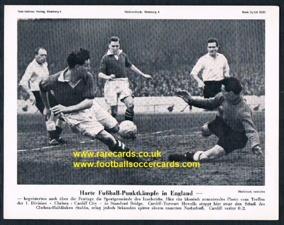 1953 Mohrendruck supp Cardiff v Chelsea Howells v Stubbs West German issue
